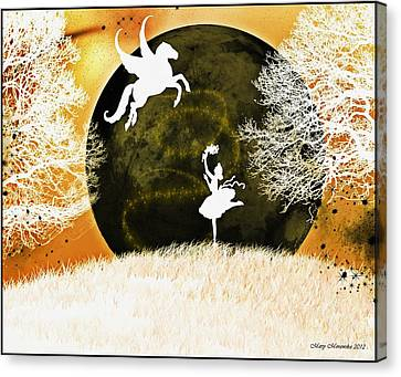 Canvas Print featuring the digital art Heaven's Ascent by Mary Morawska
