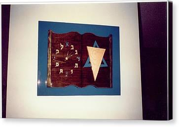 Hebrew Book Clock Canvas Print by Val Oconnor