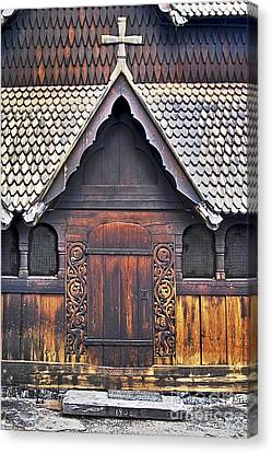 Woodcarving Canvas Print - Heddal Stave Church Side Entrance by Heiko Koehrer-Wagner