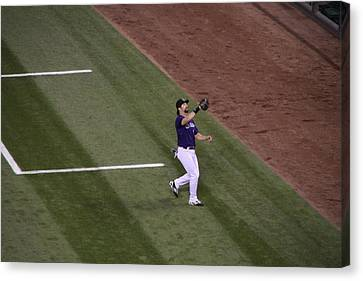 Helton Catches A Fly Ball Canvas Print by Cynthia  Cox Cottam