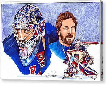 Nhl Hockey Canvas Print - Henrik Lundqvist by Dave Olsen