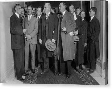 Henry Ford 1863-1947 With Reporters Canvas Print by Everett