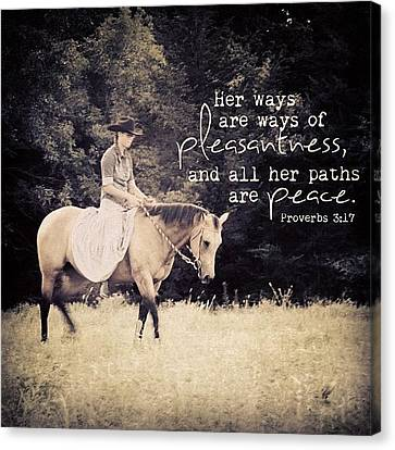 Inspirational Canvas Print - her Ways Are Ways Of Pleasantness by Traci Beeson