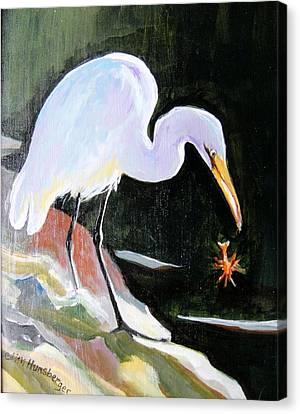 Heron And Crayfish Canvas Print