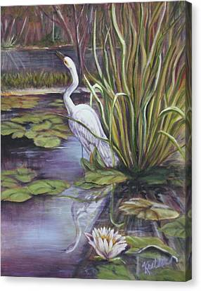 Heron Standing Watch Canvas Print