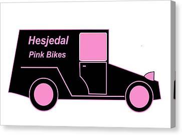 Hesjedal Pink Bikes - Virtual Car Canvas Print by Asbjorn Lonvig