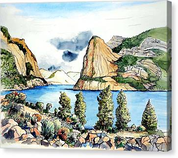 Canvas Print featuring the painting Hetch Hetchy by Terry Banderas