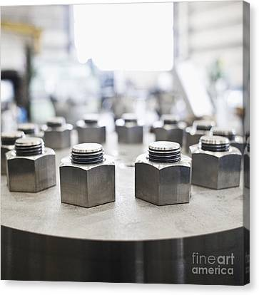Hex Nuts Threaded On Bolts Canvas Print by Jetta Productions, Inc