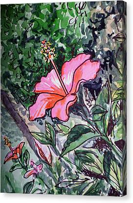 Hibiscus Sketchbook Project Down My Street  Canvas Print by Irina Sztukowski