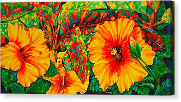 Hibiscus With Crotons Canvas Print