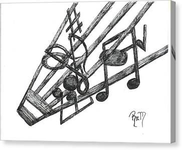 Hiding Among The Notes - Sketch Canvas Print by Robert Meszaros