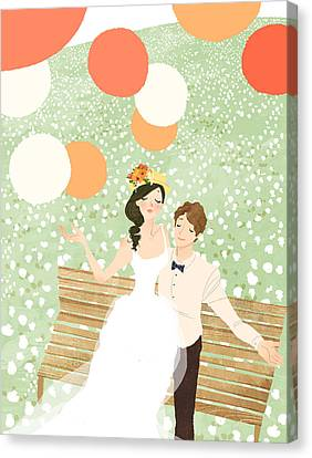 High Angle View Of Newlywed Couple Sitting On Garden Bench Canvas Print by Eastnine Inc.