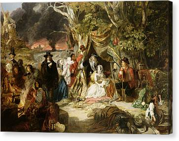 Highgate Fields During The Great Fire Of London In 1666 Canvas Print by Edward Matthew Ward