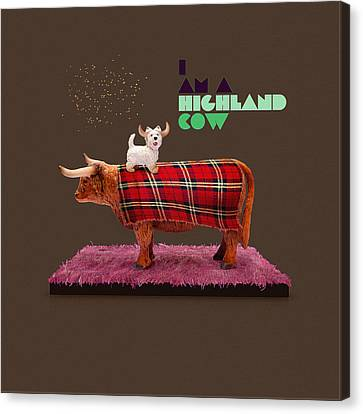 Scottish Dog Canvas Print - Highland Cow by Michael  Murray