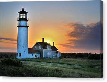 Highland Lighthouse - Sunset Burst Canvas Print by Thomas Schoeller