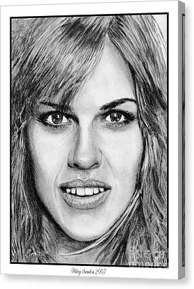 Canvas Print featuring the drawing Hilary Swank In 2007 by J McCombie