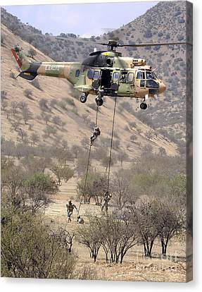 Hilean Special Forces Perform An Air Canvas Print by Stocktrek Images
