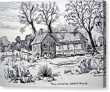 Hill Country Ranch House Canvas Print by Bill Joseph  Markowski