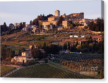 Hill Town Of Panzano At Dusk Canvas Print by Jeremy Woodhouse