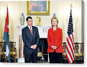 Hillary Clinton With King Abdullah II Canvas Print by Everett