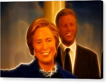 Hillary Rodham Clinton - United States Secretary Of State - Bill Clinton Canvas Print by Lee Dos Santos