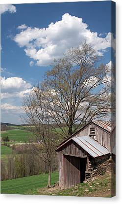 Hillside Weathered Barn Dramatic Spring Sky Canvas Print by John Stephens
