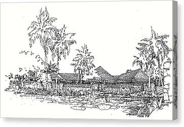 Canvas Print featuring the drawing Hilo House by Andrew Drozdowicz