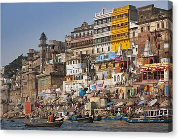 Hindu Pilgrims Bathe River Ganges, Varanasi, India Canvas Print