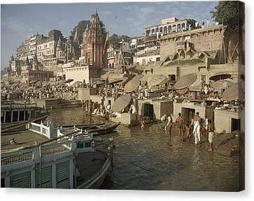 Hindu Pilgrims Wash Away Sins Canvas Print by John Scofield