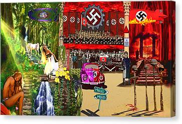 Hippie Chicks And Nazi Zombies Canvas Print by Michael Cleere