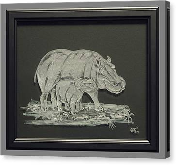 Hippos Mother And Baby Canvas Print by Akoko Okeyo