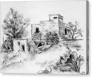 Hirbe Landscape In Afek Black And White Old Building Ruins Trees Bricks And Stairs Canvas Print by Rachel Hershkovitz
