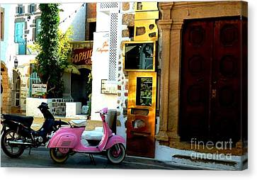 Door Canvas Print - His And Hers Vespas At The Gallery by Therese Alcorn