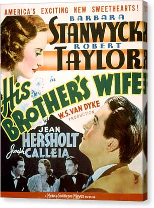 His Brothers Wife, Barbara Stanwyck Canvas Print by Everett