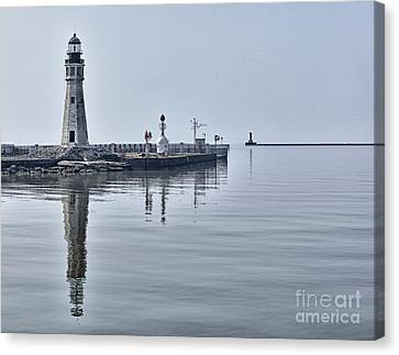 Historic Lighthouse On Lake Erie Canvas Print by Phil Pantano