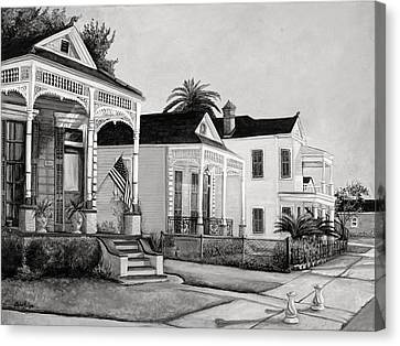 Historic Louisiana Homes In Black And White Canvas Print by Elaine Hodges