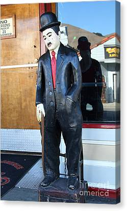Historic Niles District In California Near Fremont . Charlie Chaplin Statue At The Florence Bar Canvas Print by Wingsdomain Art and Photography