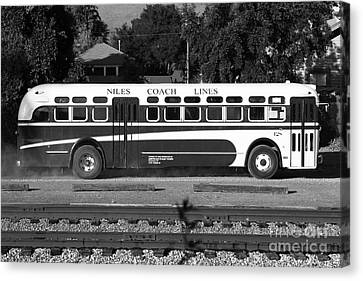 Historic Niles District In California Near Fremont . Niles Coach Line Bus . 7d10803 . Bw Canvas Print by Wingsdomain Art and Photography