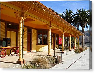 Historic Niles District In California Near Fremont . Niles Depot Museum And Niles Town Plaza.7d10636 Canvas Print by Wingsdomain Art and Photography