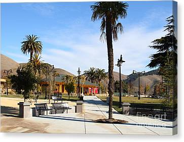 Historic Niles District In California Near Fremont . Niles Depot Museum And Niles Town Plaza.7d10651 Canvas Print by Wingsdomain Art and Photography
