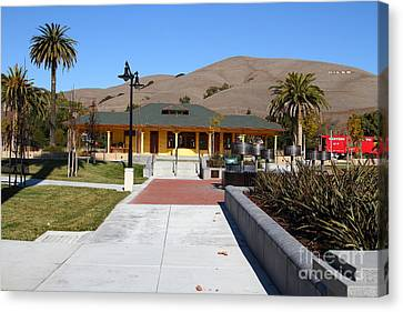 Historic Niles District In California Near Fremont . Niles Depot Museum And Niles Town Plaza.7d10697 Canvas Print by Wingsdomain Art and Photography