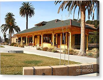 Historic Niles District In California Near Fremont . Niles Depot Museum And Niles Town Plaza.7d10717 Canvas Print by Wingsdomain Art and Photography