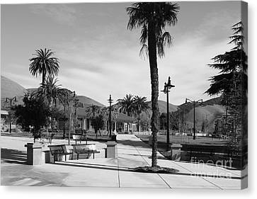 Historic Niles District In California Near Fremont . Niles Depot Museum And Town Plaza.7d10651.bw Canvas Print