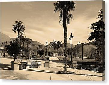 Historic Niles District In California Near Fremont . Niles Depot Museum And Town Plaza.7d10651.sepia Canvas Print by Wingsdomain Art and Photography