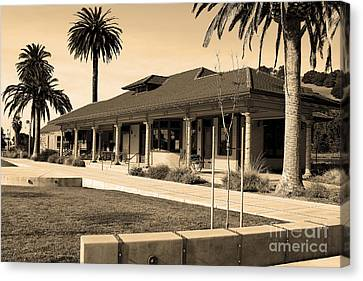 Niles Depot Museum Canvas Print - Historic Niles District In California Near Fremont . Niles Depot Museum And Town Plaza.7d10717.sepia by Wingsdomain Art and Photography