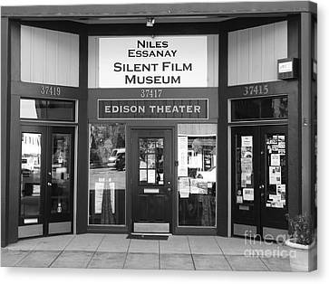Historic Niles District In California Near Fremont . Niles Essanay Silent Film Museum . 7d10684 Bw Canvas Print by Wingsdomain Art and Photography