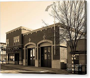 Historic Niles District In California Near Fremont . Niles Fire Station Number 2 . 7d10732 . Sepia Canvas Print by Wingsdomain Art and Photography