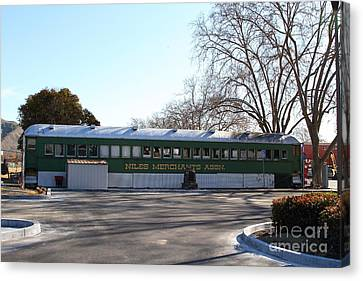 Historic Niles District In California Near Fremont . Niles Merchants Association Train Office . 7d10 Canvas Print by Wingsdomain Art and Photography