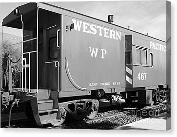 Historic Niles District In California Near Fremont . Western Pacific Caboose Train . 7d10627 . Bw Canvas Print