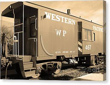 Historic Niles District In California Near Fremont . Western Pacific Caboose Train . 7d10627 . Sepia Canvas Print